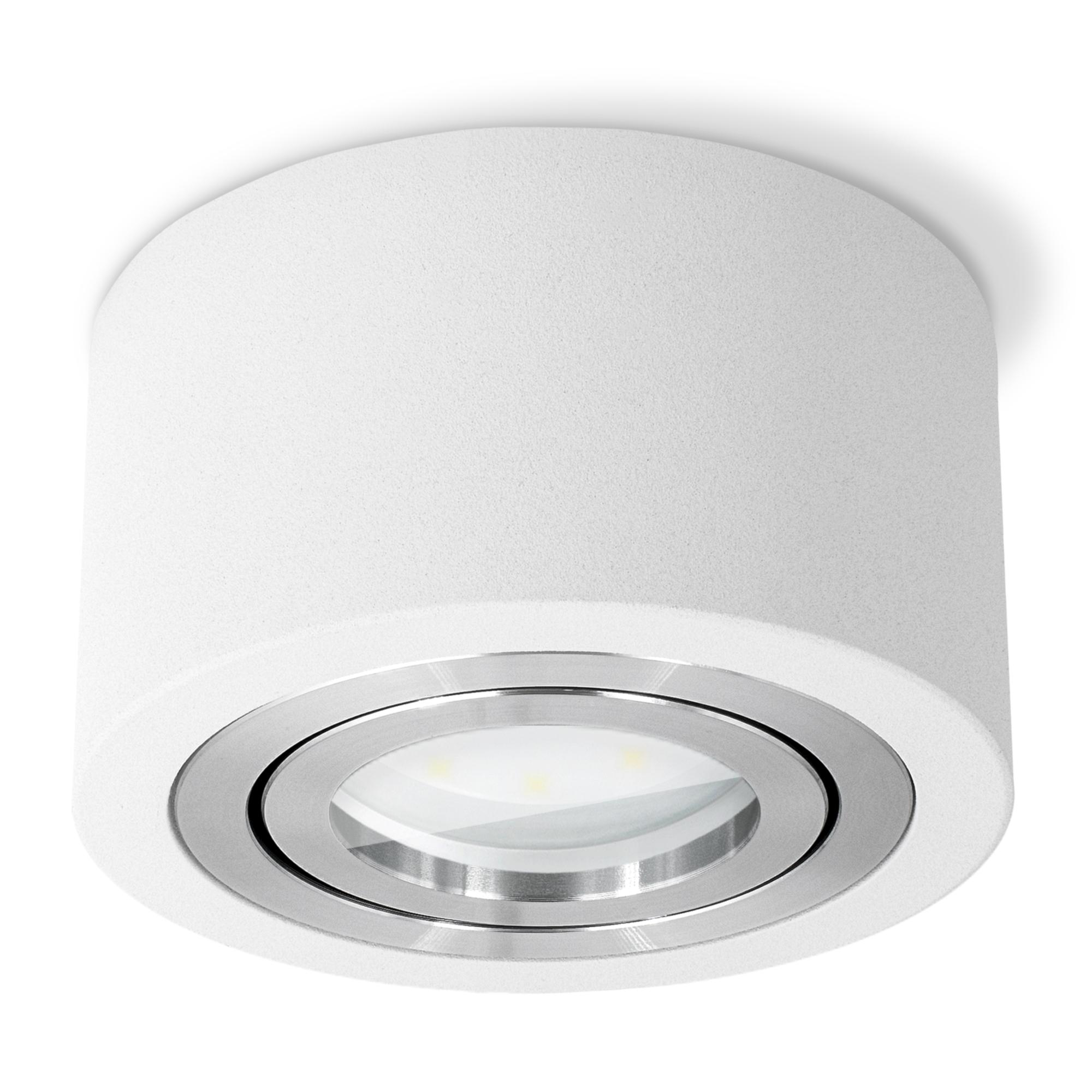 Flacher Aufbauspot LUZA für Bad & Außen IP20 mit LED 20W warmweiß ...