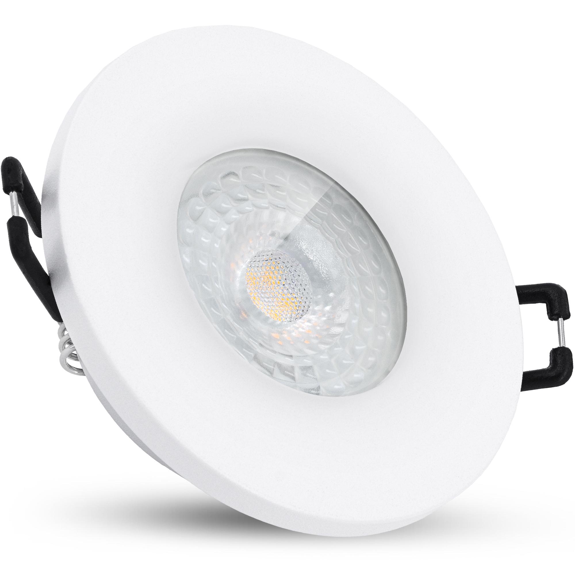 BEDA Bad Einbaustrahler IP20 mit LED GU20 Lampe 20° wechselbar 20W warmweiß  in weiß rund