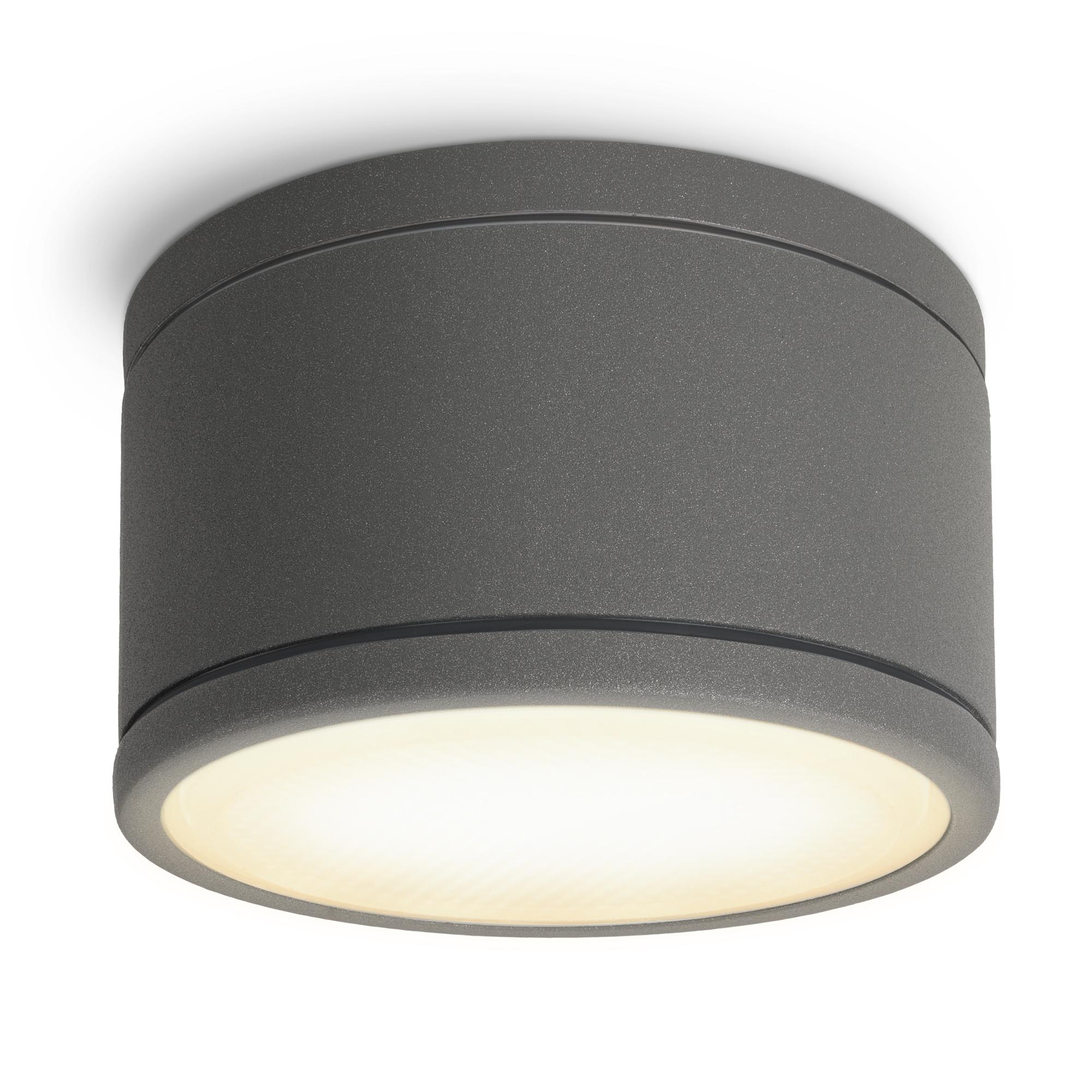 CELI WX Bad Aufbauspot dimmbar flach IP20 anthrazit mit LED GX20 Lampe 20,20W  warmweiß 20V