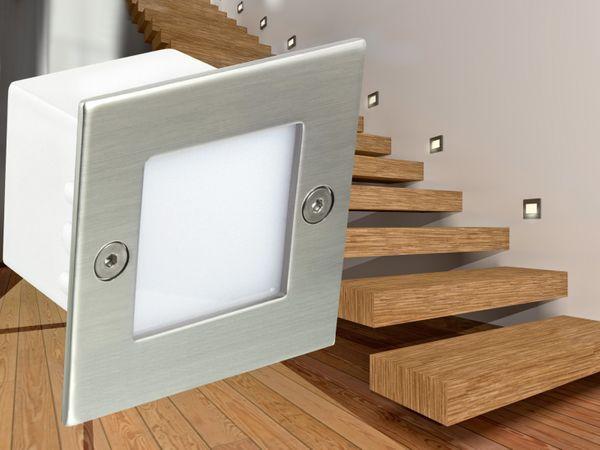 LED-Einbauleuchte Boden Treppenleuchte B04, 0,8W 230V, Edelstahl, IP54, Lichtfarbe warmweiß – Bild 1
