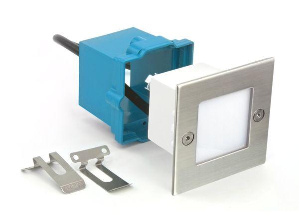 LED-Einbauleuchte Boden Treppenleuchte B04, 0,8W 230V, Edelstahl, IP54, Lichtfarbe warmweiß – Bild 2