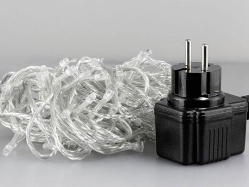 100er LED-Lichterkette, Lichtfarbe weiss, 100LEDs, IP44, transparentes Kabel, inkl. Netzteil – Bild 2
