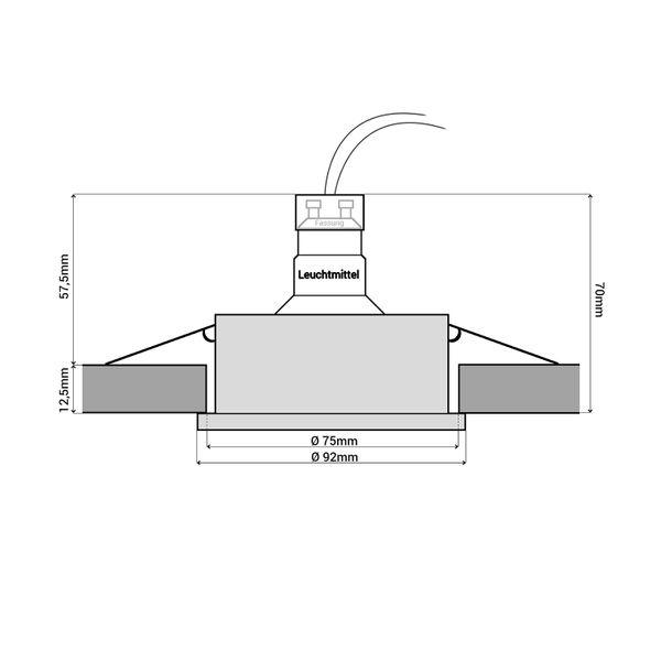 QF-2 LED Einbaustrahler Alu eckig schwenkbar inkl. Milky GU10 LED 5W warmweiß 230V – Bild 6