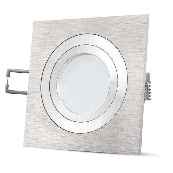 QF-2 LED Einbaustrahler Alu eckig schwenkbar inkl. Milky GU10 LED 5W warmweiß 230V – Bild 5