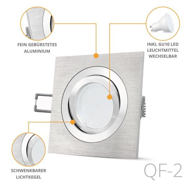 QF-2 LED Einbaustrahler Alu eckig schwenkbar inkl. Milky GU10 LED 5W warmweiß 230V – Bild 2