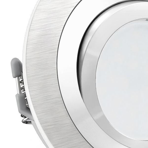 RF-2 LED Einbaustrahler Alu rund schwenkbar inkl. Milky GU10 LED 5W warmweiß 230V – Bild 4