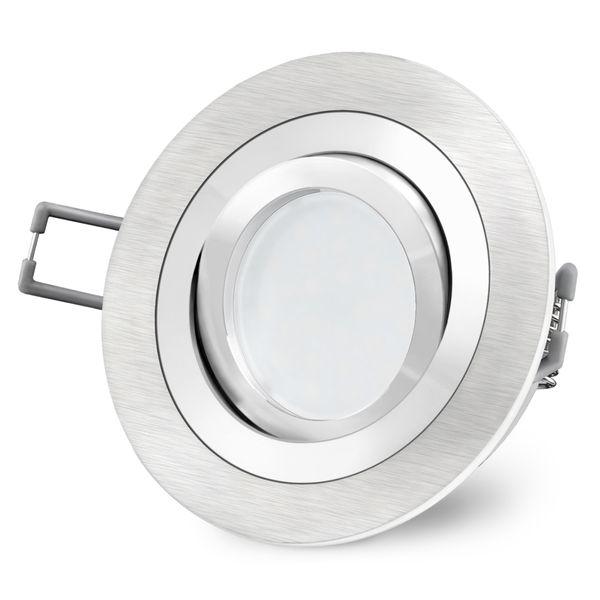 RF-2 LED Einbaustrahler Alu rund schwenkbar inkl. Milky GU10 LED 5W warmweiß 230V Stückzahl: 1er Set