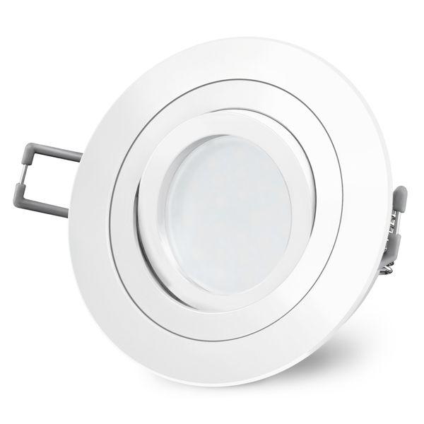 RF-2 LED Einbaustrahler schwenkbar in matt weiß rund inkl. Milky GU10 LED 5W warmweiß 230V