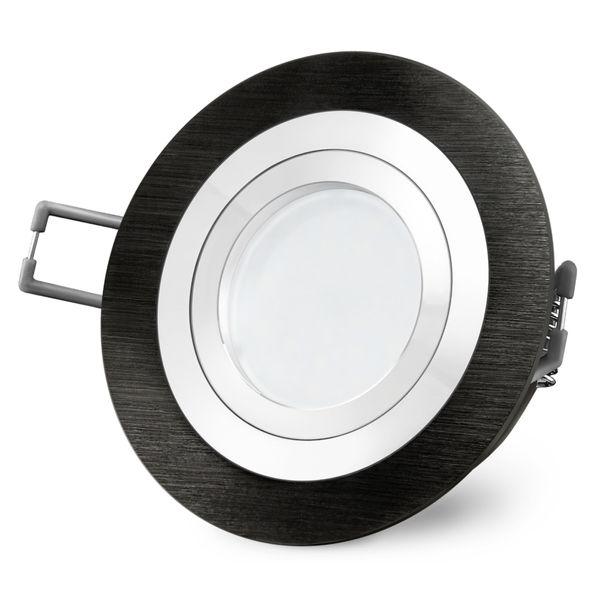 RF-2 LED Einbauspot schwenkbar in schwarz Alu rund inkl. Milky GU10 LED 5W warmweiß 230V – Bild 6