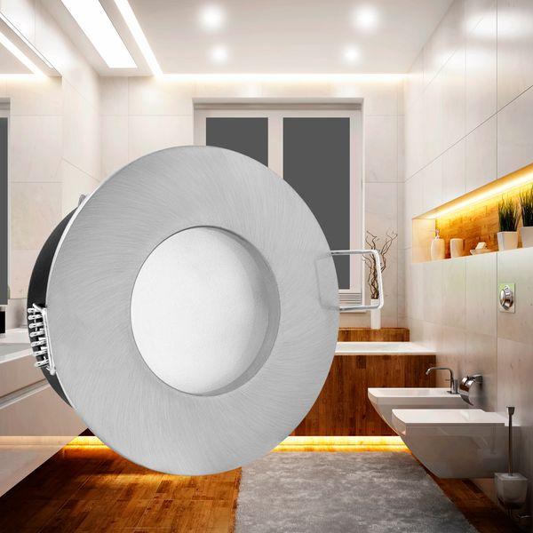 RW-1 Feuchtraum LED-Einbaustrahler Bad Einbauleuchte Edelstahl gebürstet, IP65, 5W SMD LEDs warm weiß, GU10-Fassung – Bild 2
