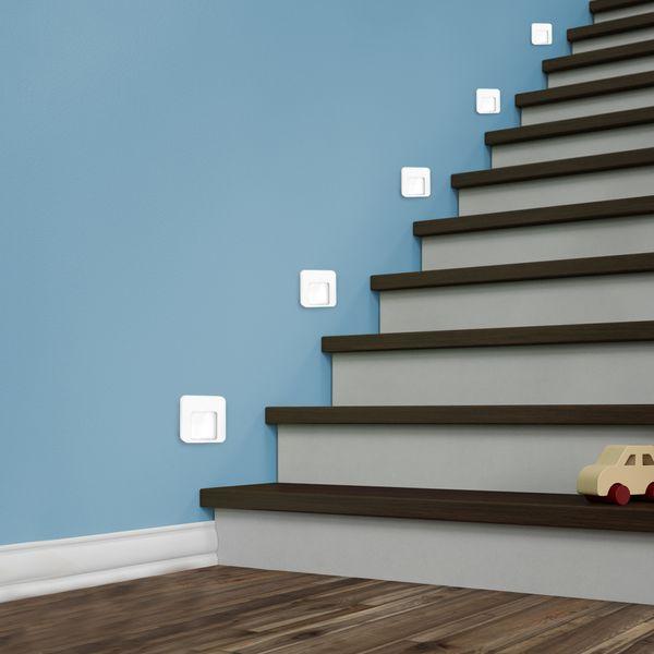 LED-Wandeinbauleuchte DERO Edelstahl, Graphit oder Weiß Treppenleuchte quadratisch, für 60mm Unterputzdosen, CREE LEDs 1W, 230V IP20 warm weiß – Bild 8