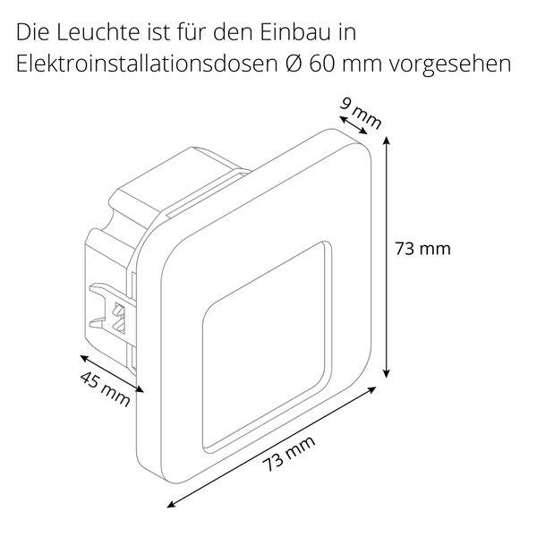 LED-Wandeinbauleuchte DERO Edelstahl, Graphit oder Weiß Treppenleuchte quadratisch, für 60mm Unterputzdosen, CREE LEDs 1W, 230V IP20 warm weiß – Bild 10