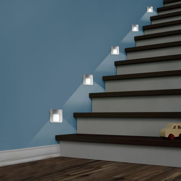 LED-Wandeinbauleuchte DERO Edelstahl, Graphit oder Weiß Treppenleuchte quadratisch, für 60mm Unterputzdosen, CREE LEDs 1W, 230V IP20 warm weiß – Bild 9