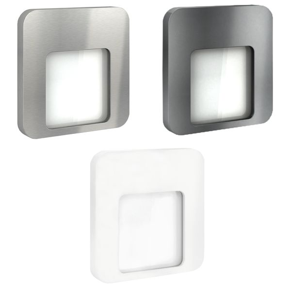 LED-Wandeinbauleuchte DERO Edelstahl, Graphit oder Weiß Treppenleuchte quadratisch, für 60mm Unterputzdosen, CREE LEDs 1W, 230V IP20 warm weiß