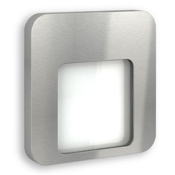 LED-Wandeinbauleuchte DERO Edelstahl, Graphit oder Weiß Treppenleuchte quadratisch, für 60mm Unterputzdosen, CREE LEDs 1W, 230V IP20 warm weiß – Bild 2