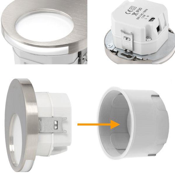 LED Wand-Einbauleuchte KAMA in Edelstahl, Graphit oder Weiß Treppenleuchte rund, 1W, 230V warmweiß – Bild 15