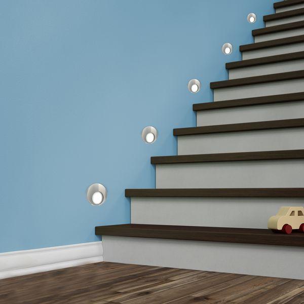 LED Wand-Einbauleuchte KAMA in Edelstahl, Graphit oder Weiß Treppenleuchte rund, 1W, 230V warmweiß – Bild 4