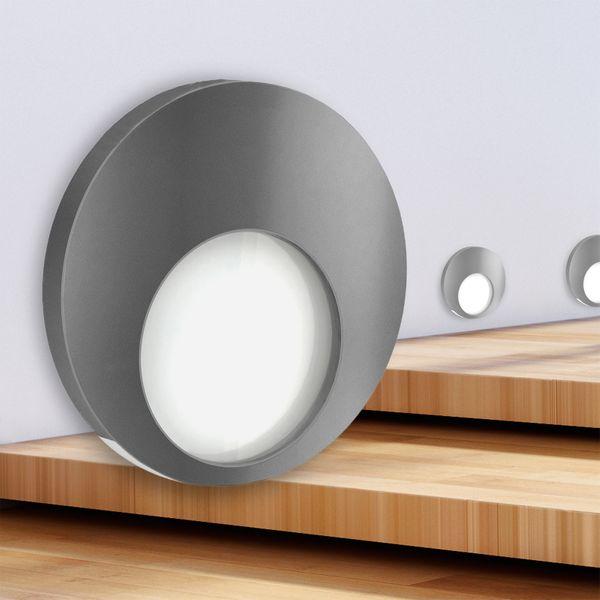 LED Wand-Einbauleuchte KAMA in Edelstahl, Graphit oder Weiß Treppenleuchte rund, 1W, 230V warmweiß – Bild 7