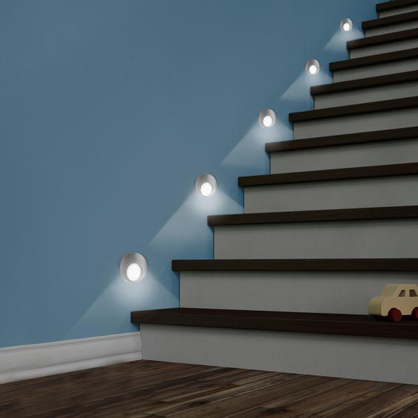 LED Wand-Einbauleuchte KAMA in Edelstahl, Graphit oder Weiß Treppenleuchte rund, 1W, 230V warmweiß – Bild 6