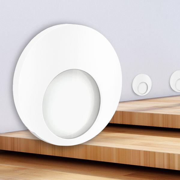 LED Wand-Einbauleuchte KAMA in Edelstahl, Graphit oder Weiß Treppenleuchte rund, 1W, 230V warmweiß – Bild 11