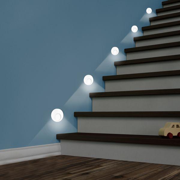LED Wand-Einbauleuchte KAMA in Edelstahl, Graphit oder Weiß Treppenleuchte rund, 1W, 230V warmweiß – Bild 9