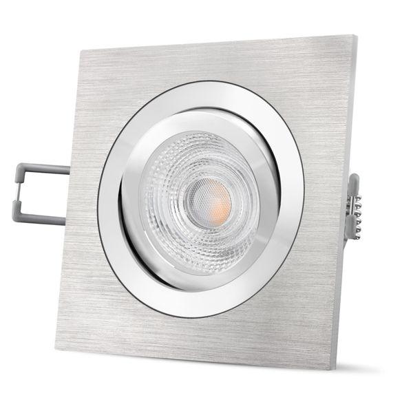 QF-2 LED Einbauleuchte in Alu gebürstet eckig schwenkbar inkl. GU10 LED 3,5W warmweiß 230V Stückzahl: 1er Set