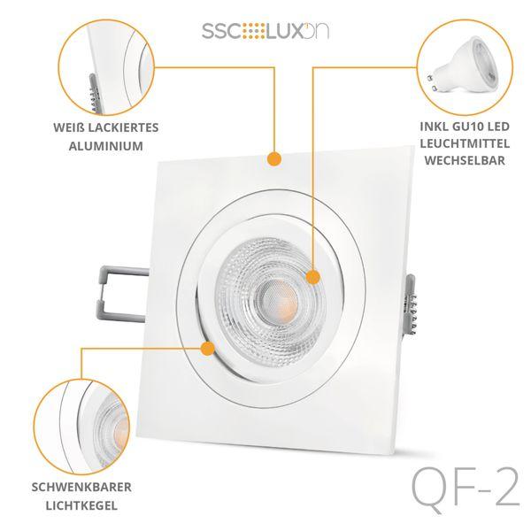 QF-2 LED Einbaustrahler weiß quadratisch schwenkbar inkl. GU10 LED 3W warmweiß 230V – Bild 2