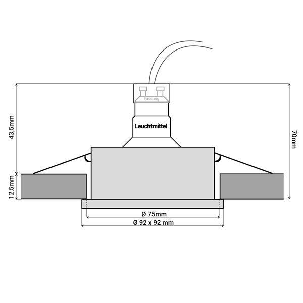 QF-2 LED Einbauleuchte schwarz gebürstet eckig schwenkbar inkl. GU10 LED 3,5W warmweiß – Bild 6