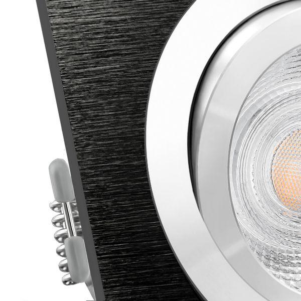 QF-2 LED Einbauleuchte schwarz gebürstet eckig schwenkbar inkl. GU10 LED 3,5W warmweiß – Bild 5