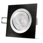 QF-2 LED Einbauleuchte schwarz gebürstet eckig schwenkbar inkl. GU10 LED 3,5W warmweiß 001