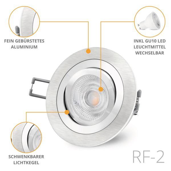 RF-2 LED Einbaustrahler schwenkbar in Alu gebürstet rund inkl. GU10 LED 3,5W warmweiß 230V – Bild 2