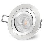 RF-2 LED Einbaustrahler schwenkbar in Alu gebürstet rund inkl. GU10 LED 3,5W warmweiß 230V 001