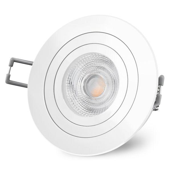 RF-2 LED Einbaustrahler Spot weiß rund schwenkbar inkl. GU10 LED 3,5W warmweiß 230V – Bild 3