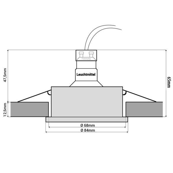 RW-1 LED Bad Einbaustrahler IP65 chrom glänzend inkl. 3,5W GU10 LED warmweiß 230V Stückzahl: 1er Set – Bild 6