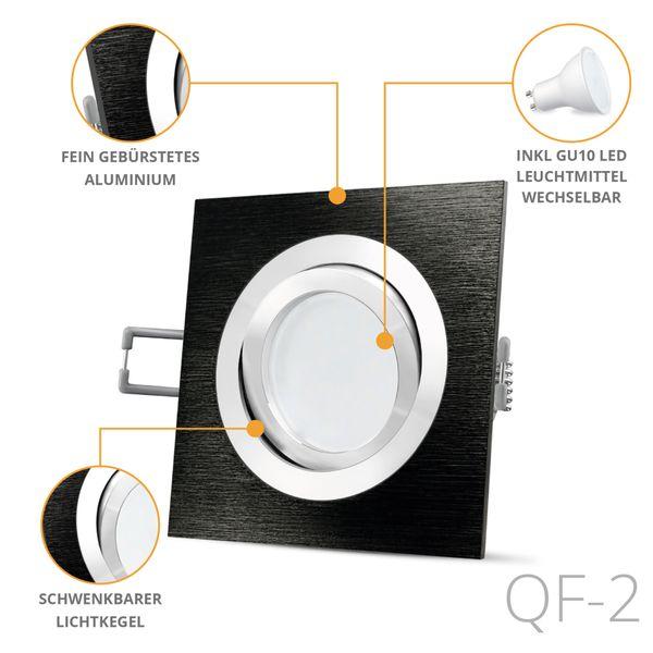 QF-2 LED Einbaustrahler Spot schwarz Alu gebürstet inkl. LED GU10 5W neutralweiß 230V – Bild 2