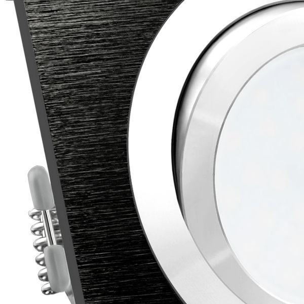 QF-2 LED Einbaustrahler Spot schwarz Alu gebürstet inkl. LED GU10 5W neutralweiß 230V – Bild 4