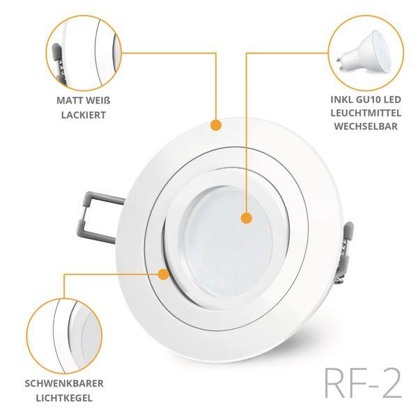 RF-2 LED Einbaustrahler weiß rund schwenkbar inkl. Milky GU10 LED 5W neutralweiß 230V – Bild 2