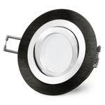 RF-2 LED Einbauspot schwenkbar Alu schwarz rund inkl. Milky GU10 LED 5W neutralweiß 230V 001
