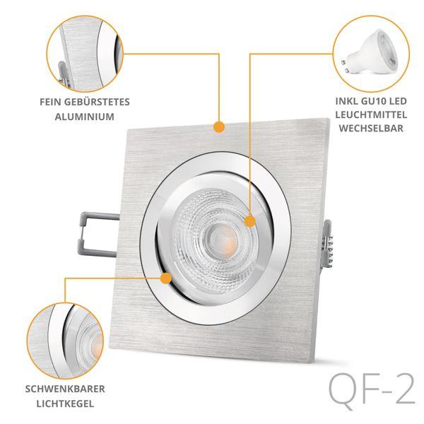 QF-2 quadratische LED Einbauleuchte Alu gebürstet schwenkbar inkl. 6W LED GU10 warmweiß 230V – Bild 2