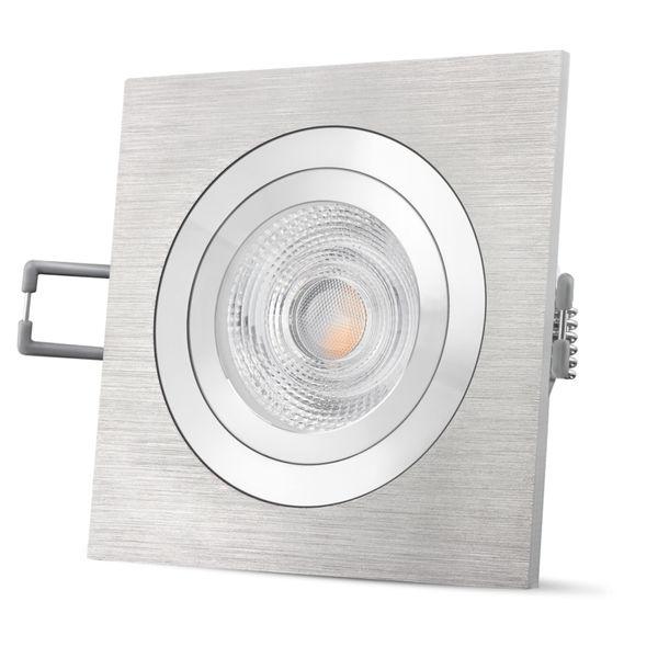 QF-2 quadratische LED Einbauleuchte Alu gebürstet schwenkbar inkl. 6W LED GU10 warmweiß 230V – Bild 3