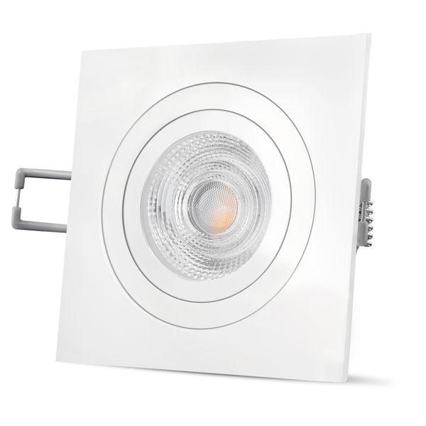 QF-2 quadratischer LED Einbaustrahler matt weiß & schwenkbar inkl. 6W LED GU10 warmweiß 230V – Bild 3