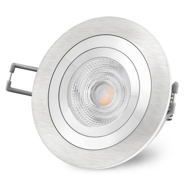 RF-2 gebürsteter LED Einbaustrahler rund & schwenkbar inkl. 6 Watt LED warmweiß GU10 230V – Bild 3