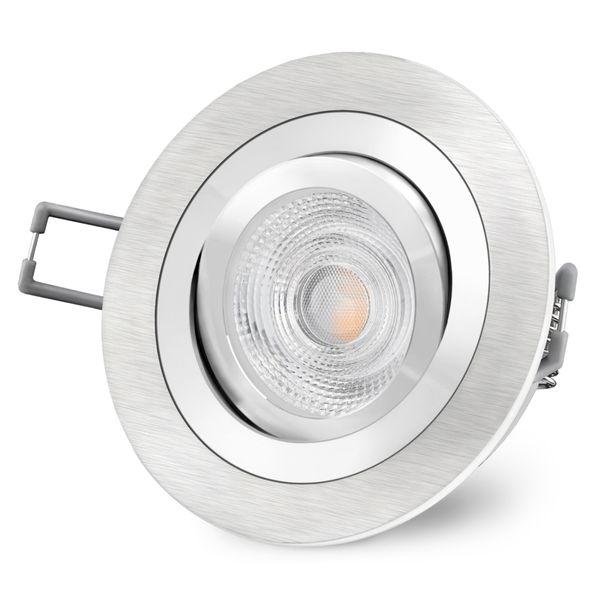 RF-2 gebürsteter LED Einbaustrahler rund & schwenkbar inkl. 6 Watt LED warmweiß GU10 230V