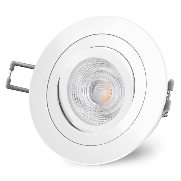RF-2 runder LED Einbaustrahler Spot in matt weiß & schwenkbar inkl. 6W LED GU10 warmweiß 230V