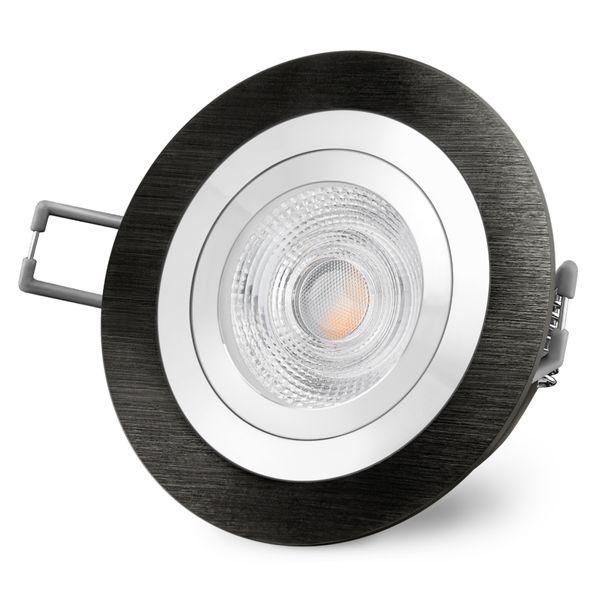 RF-2 schwenkbare LED Einbauleuchte rund in gebürstet schwarz inkl. LED GU10 6W warmweiß 230V – Bild 3