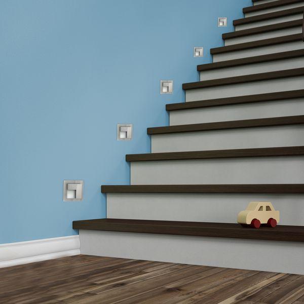 LED-Wandeinbauleuchte TAJO Edelstahl, Graphit oder Weiß Stufenleuchte quadratisch, für 60mm Unterputzdosen, CREE LEDs 1W, 230V IP20 warm weiß – Bild 4
