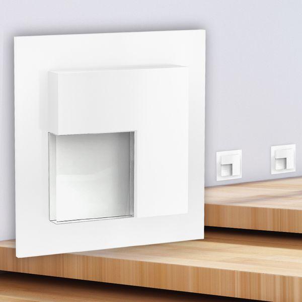 LED-Wandeinbauleuchte TAJO Edelstahl, Graphit oder Weiß Stufenleuchte quadratisch, für 60mm Unterputzdosen, CREE LEDs 1W, 230V IP20 warm weiß – Bild 9