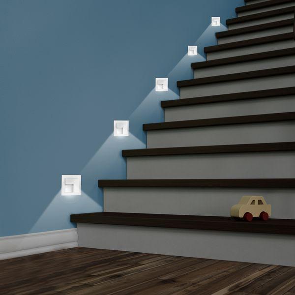 LED-Wandeinbauleuchte TAJO Edelstahl, Graphit oder Weiß Stufenleuchte quadratisch, für 60mm Unterputzdosen, CREE LEDs 1W, 230V IP20 warm weiß – Bild 15