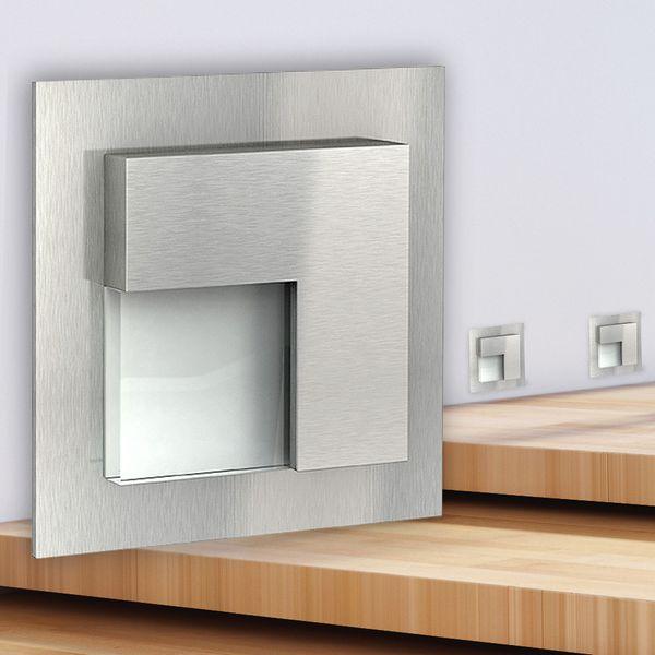 LED-Wandeinbauleuchte TAJO Edelstahl, Graphit oder Weiß Stufenleuchte quadratisch, für 60mm Unterputzdosen, CREE LEDs 1W, 230V IP20 warm weiß – Bild 3