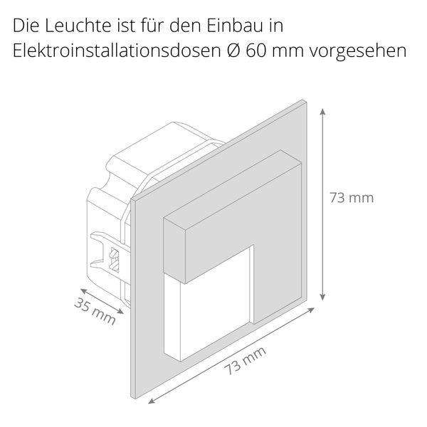 LED-Wandeinbauleuchte TAJO Edelstahl, Graphit oder Weiß Stufenleuchte quadratisch, für 60mm Unterputzdosen, CREE LEDs 1W, 230V IP20 warm weiß – Bild 6